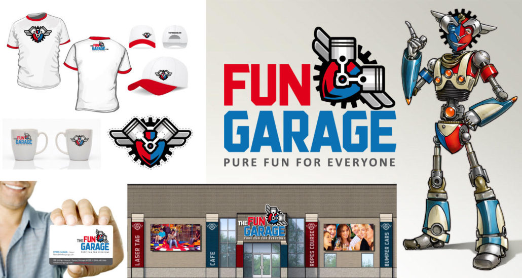 brand identity for family entertainment center fun garage branding